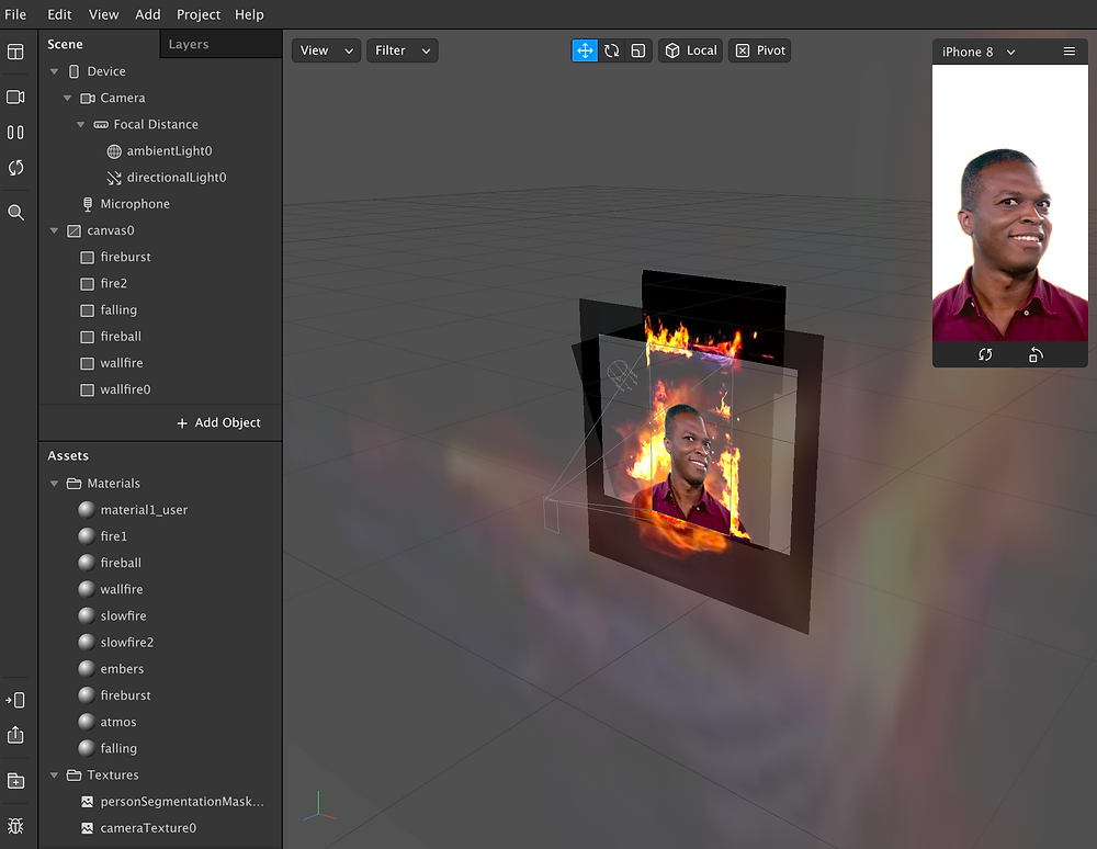 fire in sparkar studio ui viewer video textures