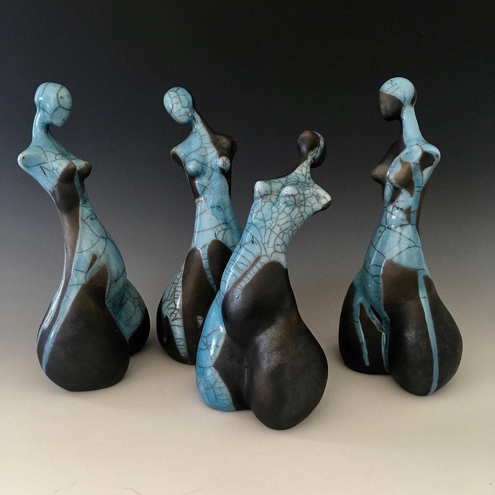 Leisa Russell_Sculptures_Raku Girls Blue