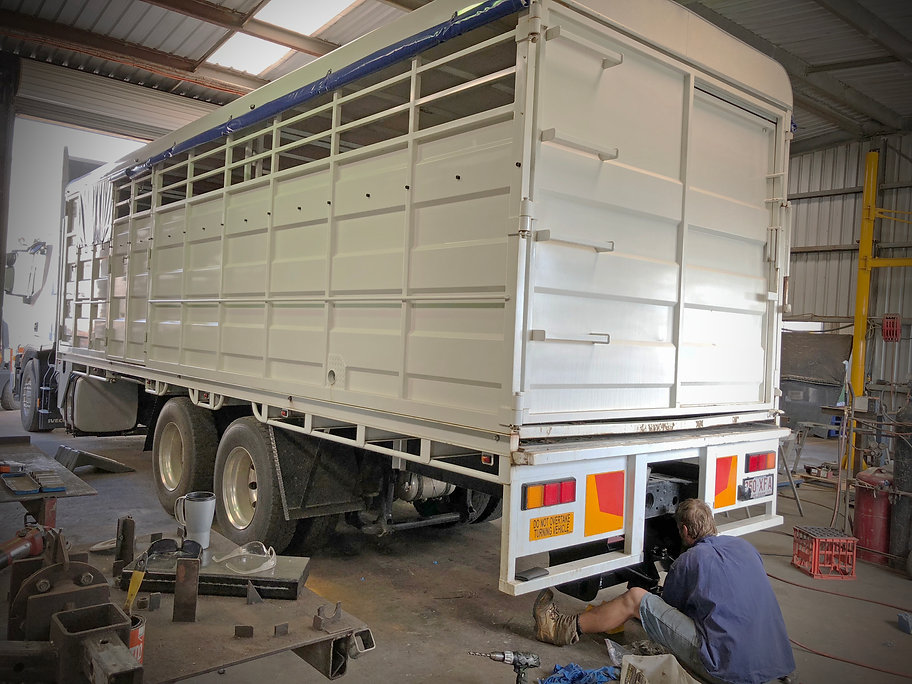 Tow bar being fitted to a new horse truck