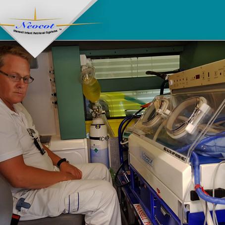 Neocot transverse loading solution in Mercedes Sprinter ambulances for Sweden.
