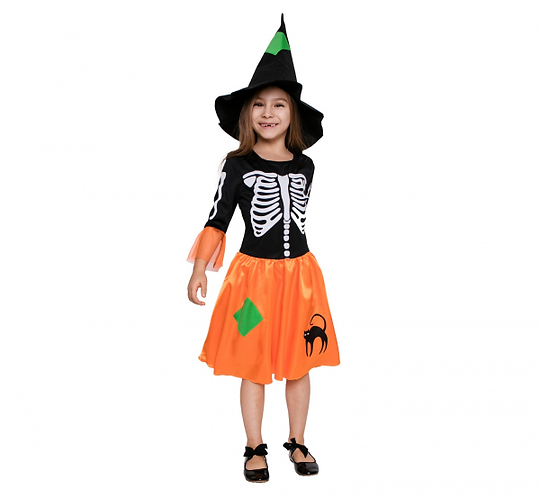 """Strój dla dzieci """"Czarownica Szkieletor"""" (sukienka, kapelusz), rozm. 120/130 c"""