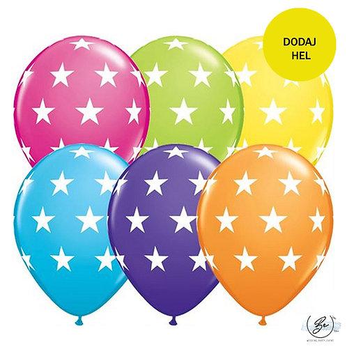"""Balon QL 11"""" z nadr. """"Duże gwiazdy"""", pastel mix tropikalny"""
