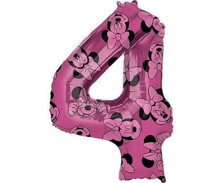 Balon foliowy cyfra 4 Myszka Minnie, fioletowy, 66 cm