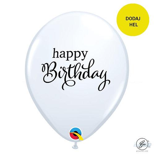 """Balon QL 11"""" RND biały z nadr. Happy birthday"""