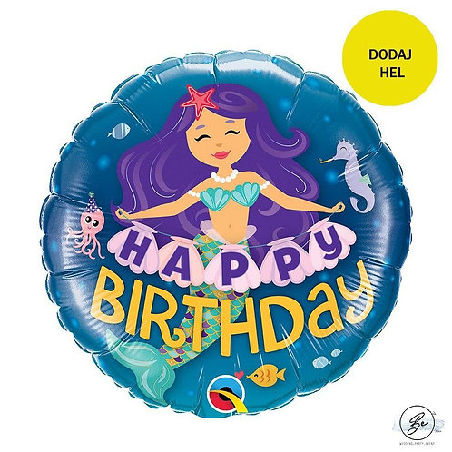 Balon foliowy 18 cali QL CIR - Happy Birthday Mermaid