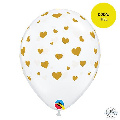 Balon 11 cali QL z nadr. Złote Serca, transparent