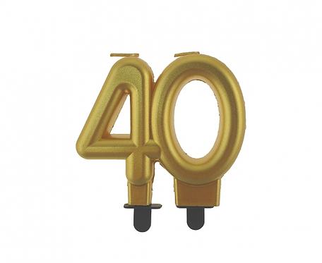 Świeczka B&C cyferka 40, metalik złota