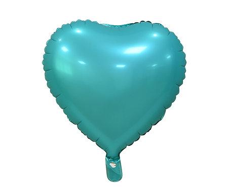 """Balon foliowy """"Serce"""", matowe, turkusowe, 18"""""""