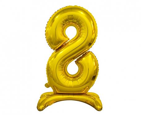 Balon foliowy B&C Cyfra stojąca 8, złota, 74 cm