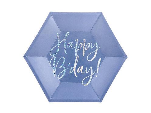 Talerzyki Happy B'day!, granatowy, 20cm