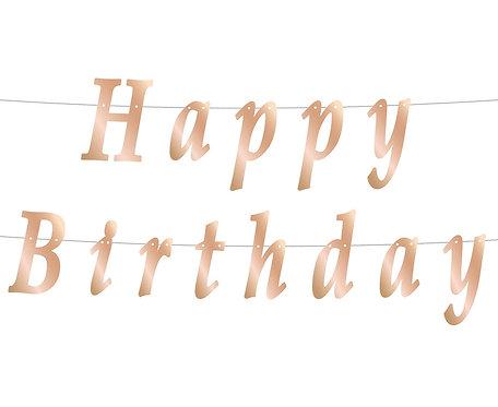 Girlanda B&C Happy Birthday, DIY, metaliczna różowo-złota