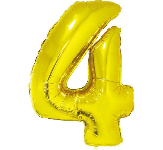 """Balon foliowy """"Cyfra 4"""", złota, 92 cm"""