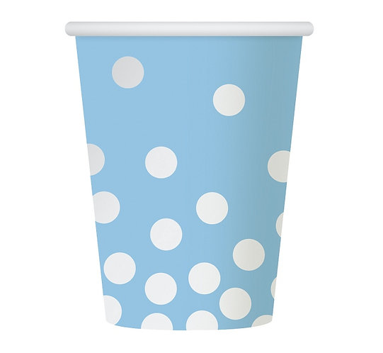 """Kubeczki papierowe """"Srebrne groszki"""", niebieskie, 270 ml, 6 szt."""