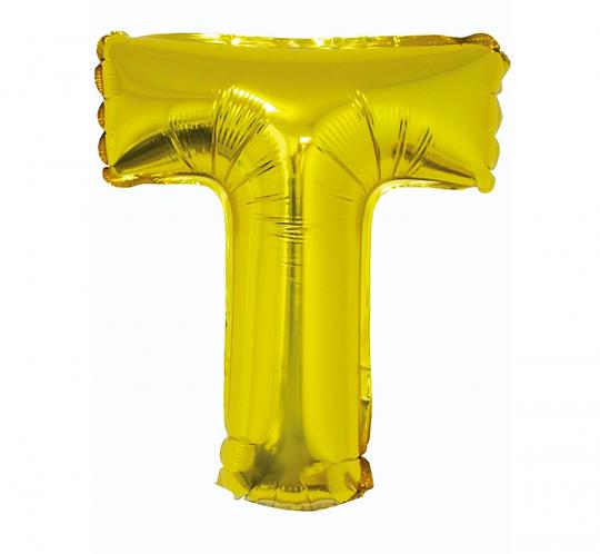 """Balon foliowy """"Litera T"""", złota, 35 cm"""