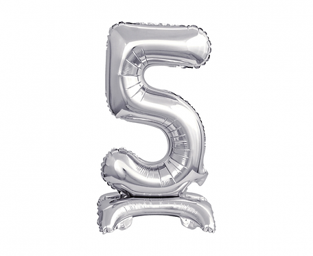 Balon foliowy B&C Cyfra stojąca 5, srebrna, 38 cm