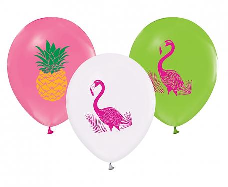 """Balony Flamingi i Ananasy, 12""""/ 5 szt."""