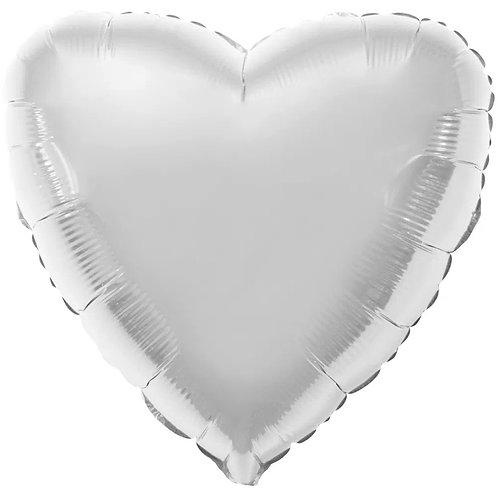 """Balon foliowy """"Serce"""", srebrne, 18"""""""