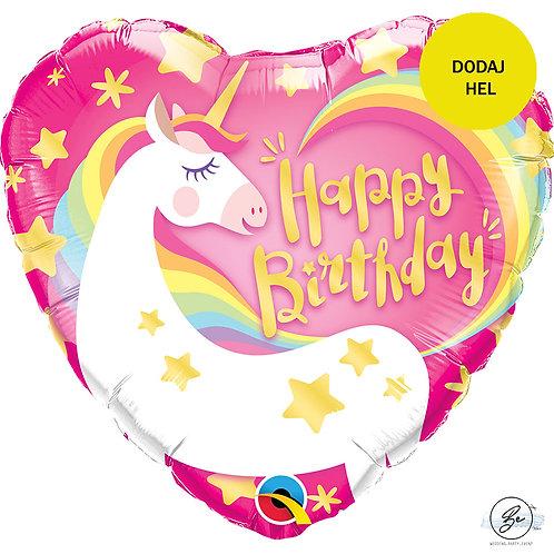 "Balon foliowy 18"" QL HRT ""Birthday Magical Unicorn"""