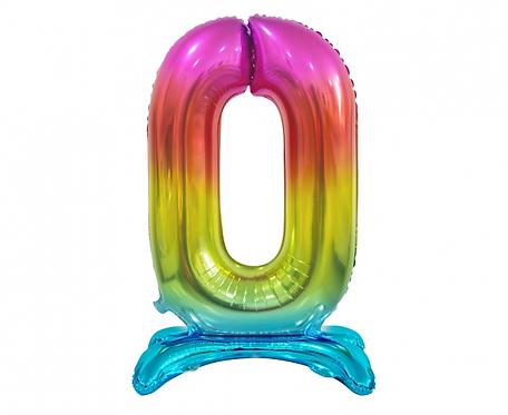 Balon foliowy B&C Cyfra stojąca 0, tęczowa, 74 cm