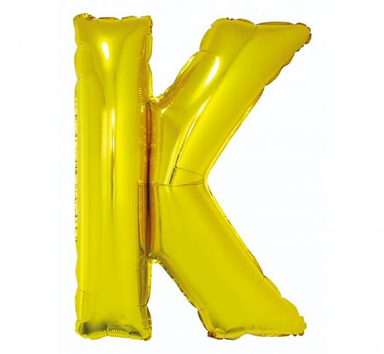 """Balon foliowy """"Litera K"""", złota, 89 cm"""