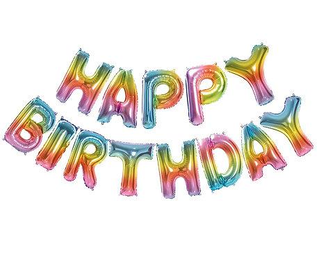 Balon foliowy Zestaw liter Happy Birthday, Tęczowy
