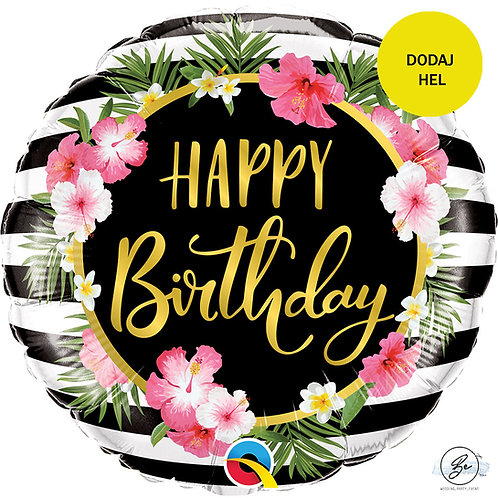 "Balon foliowy 18"" QL CIR - ""Birthday Hibiscus Stripes"""
