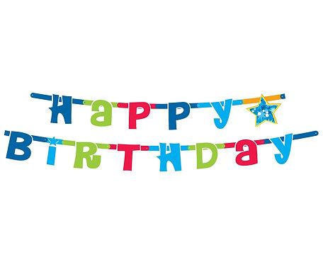 """Girlanda """"Happy Birthday niebieskie"""", 1.8 m"""