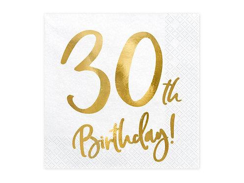 Serwetki 30th Birthday, biały, 33x33cm
