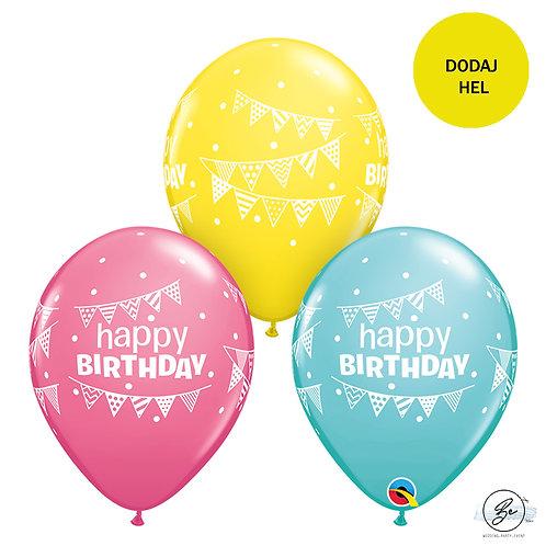"Balon QL 11"" z nadr. "" Happy Birthday Pennants & Dots"""