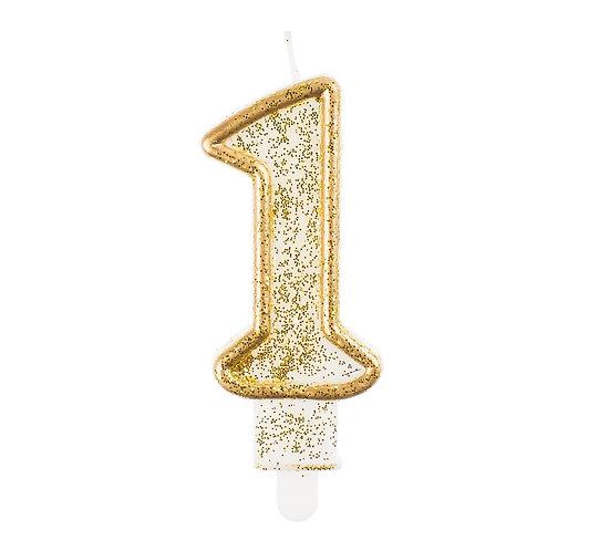 Świeczka B&C cyferki od 0 do 9, złoty kontur
