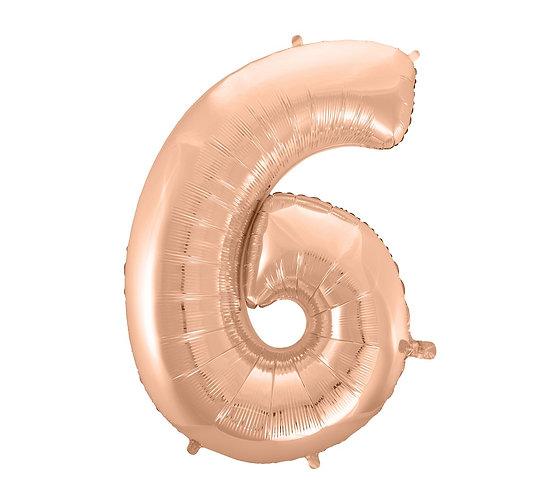 """Balon foliowy """"Cyfra 6"""", różowo-złota, 92 cm"""