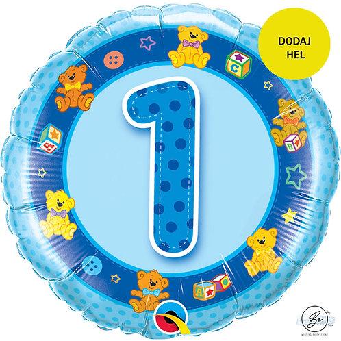 """Balon foliowy 18"""" QL CIR """"1 z obrazkami, niebieski"""""""
