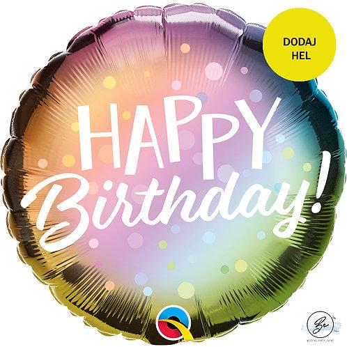 "Balon foliowy 18"" QL - HAPPY BIRTHDAY (Metallic Ombre)"