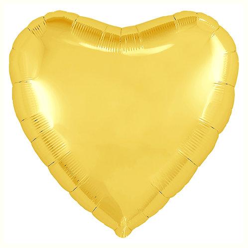 """Balon foliowy """"Serce"""", złote, 18"""""""