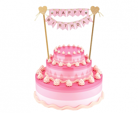 Dekoracja papierowa B&G na tort Happy Birthday, jasnoróżowa