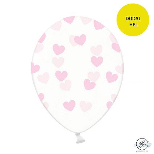 Balony Serduszka, jasnoróżowy transparentne