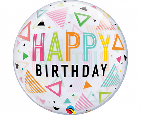 alon foliowy 22 cali QL Bubble Poj. Birthday rainbow triangles