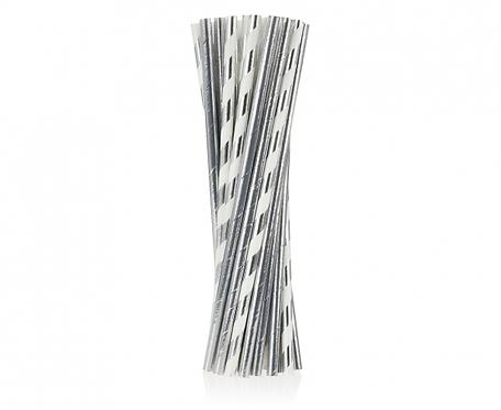 Rurki (słomki) pap. srebrne, miks dwóch wzorów, 24 szt.