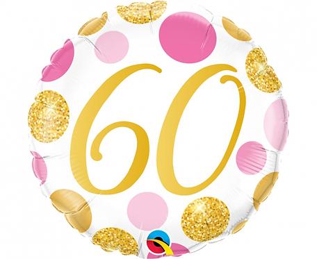 Balon foliowy 18 cali QL 60 Urodziny, różowo-złote grochy