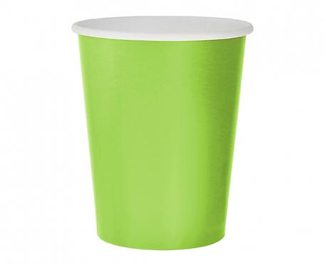 Kubeczki pap. jednokolorowe zielone, 270ml/14 szt.