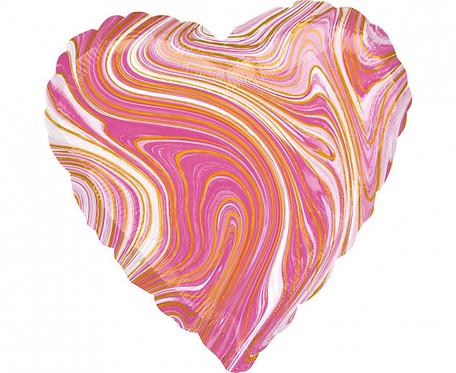 Balon foliowy Marblez serce, różowy