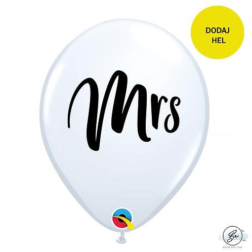 "Balon 11"" QL z nadr. ""Mrs."", biały"