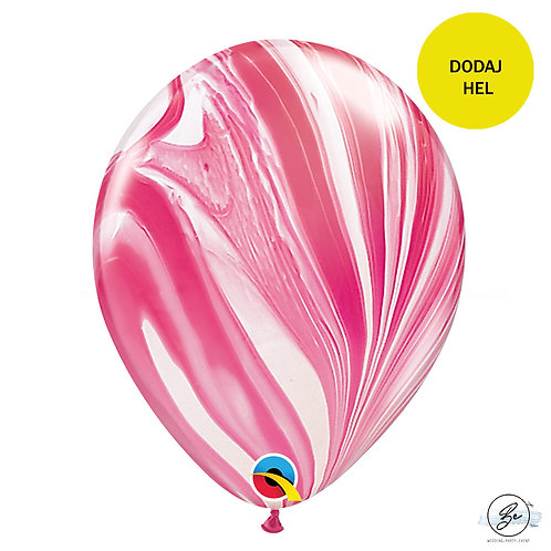 "Balon QL 11"", pastel agat czerwono- biały"