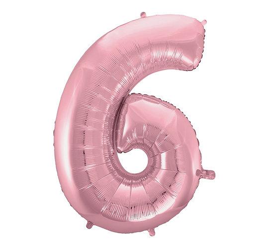 """Balon foliowy """"Cyfra 6"""", j. różowa, 92 cm"""