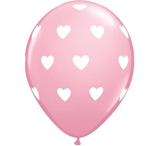 "Zestaw Balonów 6 szt QL 11"" z nadr. ""Serca"", pastel różowy"