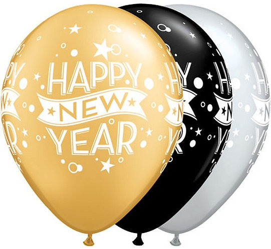 """Balon QL 11"""" z nadr. """"Happy New Year grochy i konfetti"""""""