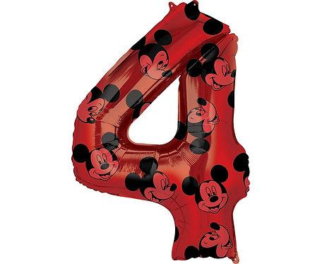 Balon foliowy cyfra 4 Myszka Mickey, czerwony, 66 c