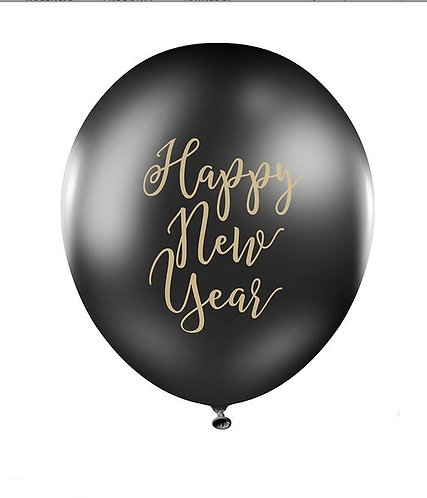 Balony 30cm, Happy New Year, Pastel Black