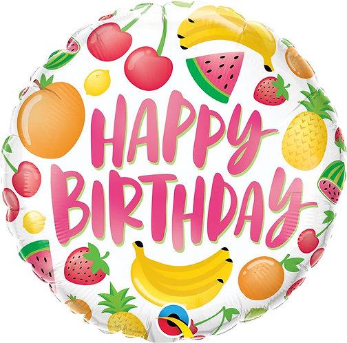 Balon foliowy 18 cali QL RND Urodzinowe owoce