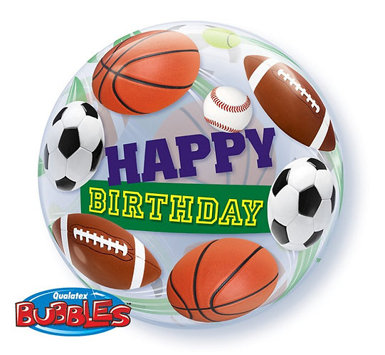 "Balon foliowy 22"" QL Bubble Poj. ""Happy Birthday"" (sport)"